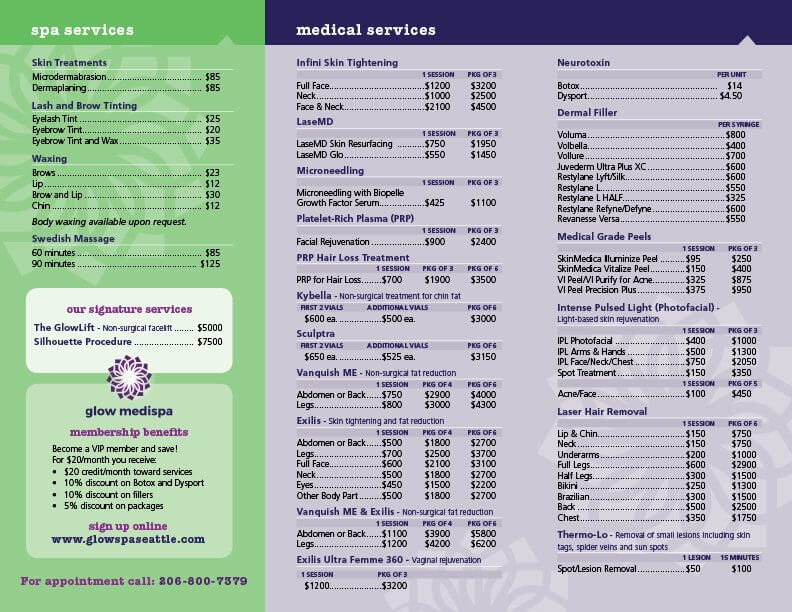 Services Price List West Seattle Magnolia Seattle Wa